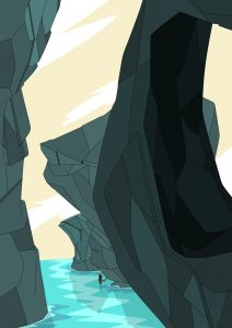 Illustration of big rocks and cliffs in bright blue water. Rowena Sheehan.
