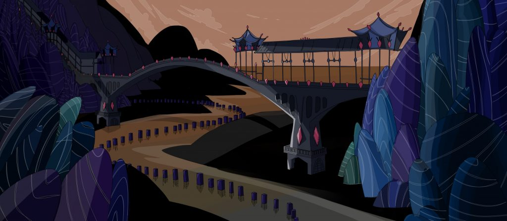 Environment design of an oriental bridge between magical mountains. Rowena Sheehan